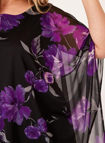 Floral Print Mesh Poncho, , hi-res