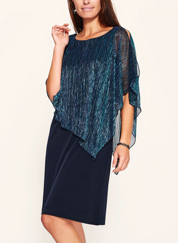 Pleated Metallic Poncho Dress, , hi-res