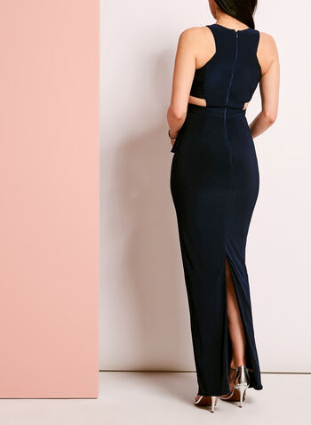 Sleeveless Jersey Asymmetric Trim Gown, , hi-res