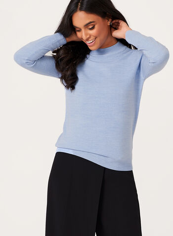 Mock Neck Knit Sweater , Blue, hi-res