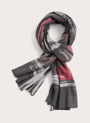 Fringed Abstract Print Scarf, , hi-res