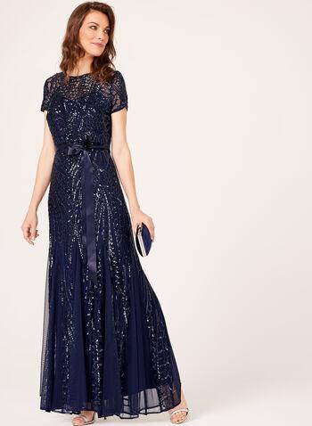 Sequin Embellished Mesh Dress, , hi-res