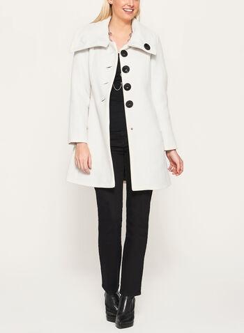 Wool-Like Envelope Collar Coat, , hi-res