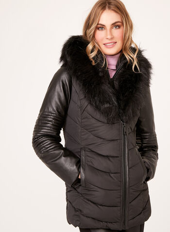 Ellabee - Faux-Leather Sleeve Quilted Coat , , hi-res