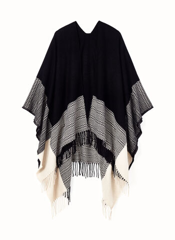 Color Block Open Front Poncho, , hi-res