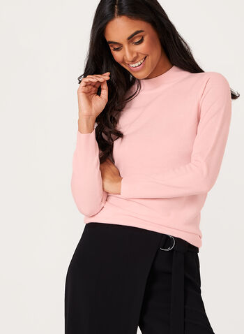 Mock Neck Knit Sweater , Pink, hi-res