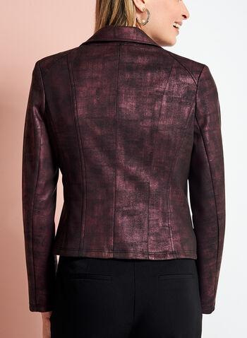 Foil Print Zipper Trim Jacket, , hi-res