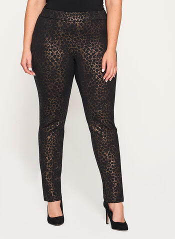 Foil Animal Print Pull-On Pants, , hi-res