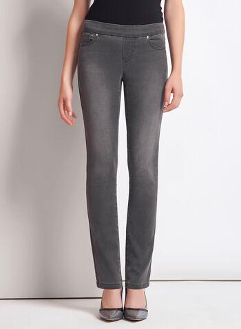 Pull-On Slim Leg Ankle Jeans, , hi-res