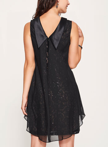 Reverse Collar Lace & Chiffon Trapeze Dress, , hi-res