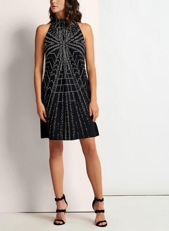 Geometric Print Mock Elastic Neck Dress, , hi-res