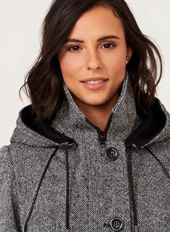 Leather Trim Tweed Wool Coat, , hi-res