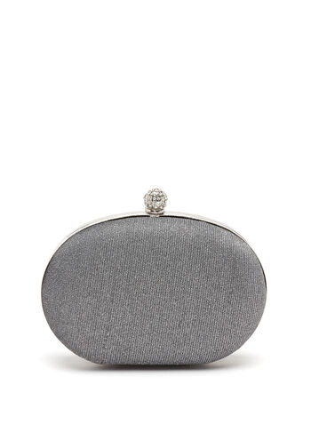 Crystal Embellished Oval Box Clutch, , hi-res