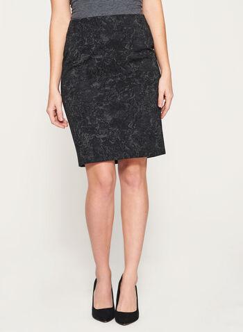 Lace Print Ponte Pencil Skirt, , hi-res
