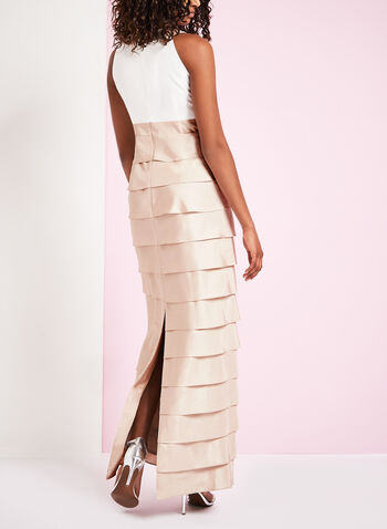Cleo Neck Tiered Shantung Gown , , hi-res