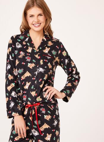 René Rofé - Dog Print Fleece Pajama Set, , hi-res