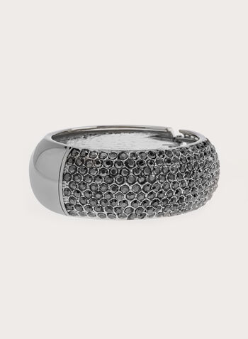 Crystal Encrusted Metallic Bangle, Grey, hi-res