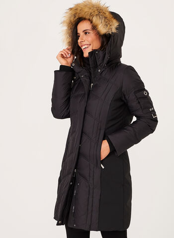 Hooded Quilted Down Coat , , hi-res