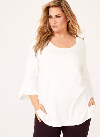 Linea Domani - Bell Sleeve Ponte Top, Off White, hi-res