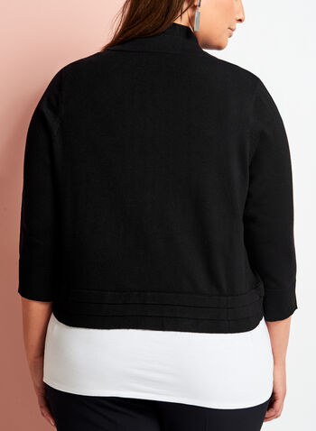 3/4 Sleeve Triple Pleat Knit Bolero, , hi-res