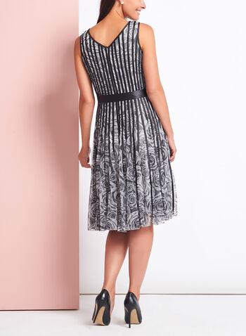 Rose Print Satin Stripe Dress, , hi-res