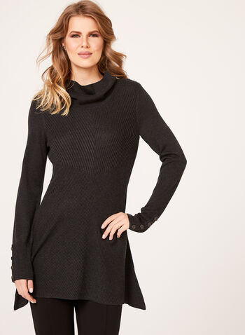 Cowl Neck Mitered Tunic Sweater, , hi-res