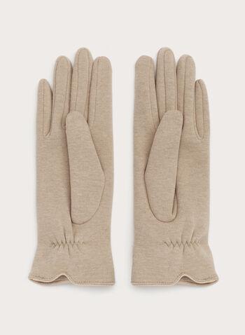 Fur Pom Pom Gloves, Brown, hi-res