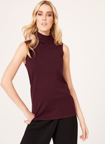 Sleeveless Turtleneck Sweater, Red, hi-res