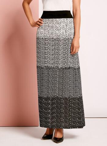 Geometric Gradient Print Maxi Skirt, , hi-res