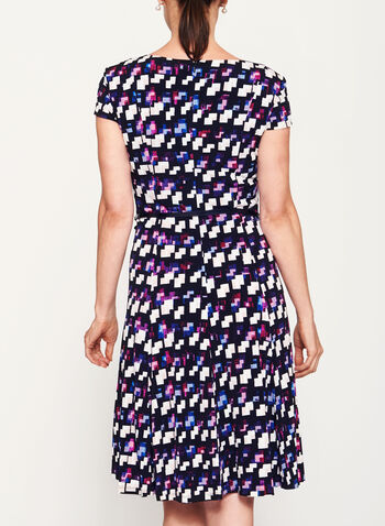 Abstract Print Fit & Flare Dress, , hi-res