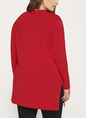 Open Front Oversize Knit Cardigan, Red, hi-res