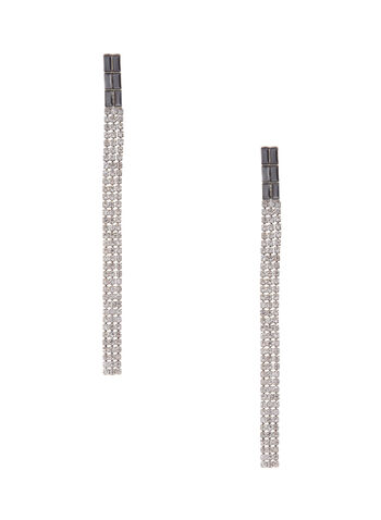Linear Crystal Earrings, , hi-res