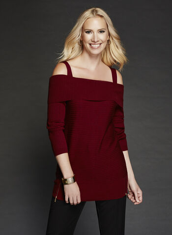 Cold Shoulder Marilyn Neck Knit Sweater, Brown, hi-res