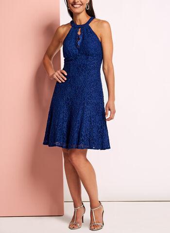 Glitter Lace Fit & Flare Dress, , hi-res