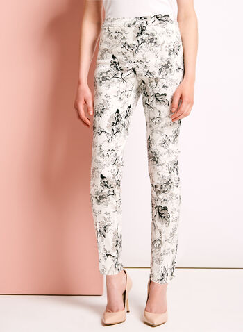 Floral Print Straight Leg Ankle Pants, , hi-res