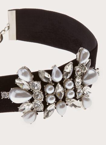 Pearl Embellished Velvet Choker, , hi-res
