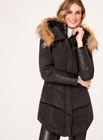 Ellabee - Faux-Leather Detail Coat , , hi-res