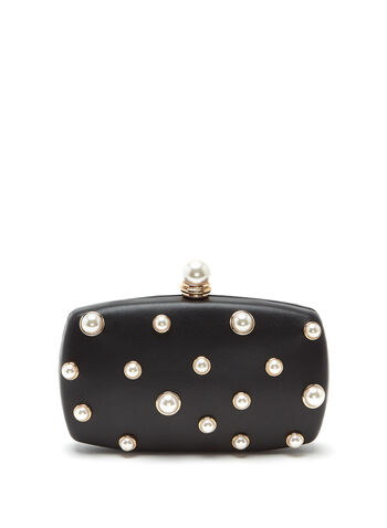 Pearl Studded Box Clutch, , hi-res