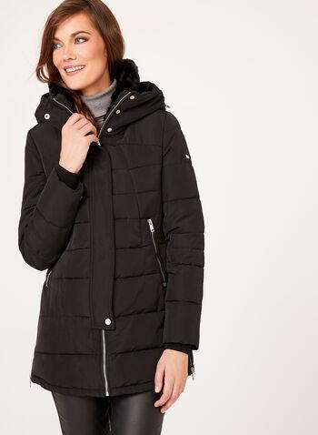 Novelti - Quilted Faux Fur Collar Coat, , hi-res