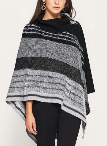 Poncho tricoté à col roulé , , hi-res