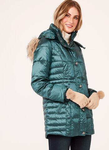 Hooded Faux Fur Down Coat, , hi-res