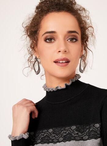 Colour Block Lace Trim Sweater, , hi-res