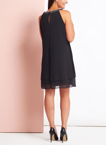 Link Chain Embellished Chiffon Dress, , hi-res