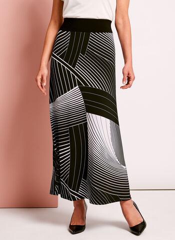 Abstract Stripe Print Maxi Skirt, , hi-res