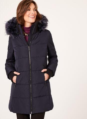 Novelti - Reflective Fur Trim Coat, , hi-res