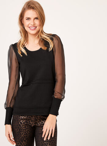 Illusion Sleeve Knit Sweater, , hi-res