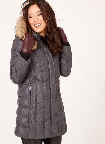 Manteau matelassé à double col et fausse fourrure amovible, , hi-res