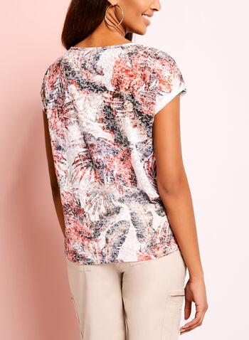 Tropical Burnout Print Tie Front T-Shirt, , hi-res
