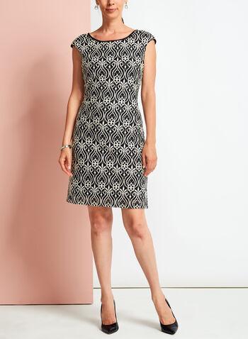 Contrast Lace Shift Dress, , hi-res