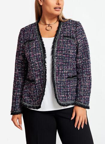 Fringe Trim Tweed Jacket, , hi-res